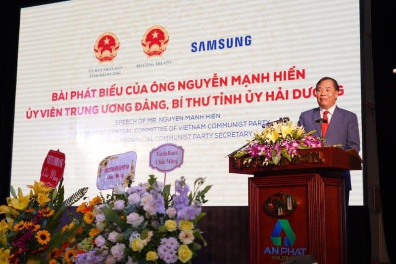 Ông Nguyễn Mạnh Hiển, Bí thư tỉnh Ủy Hải Dương phát biểu tại sự kiện