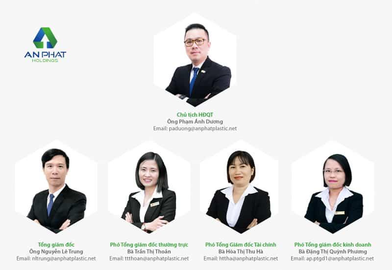 Đội ngũ lãnh đạo của công ty An Phát Bioplastics